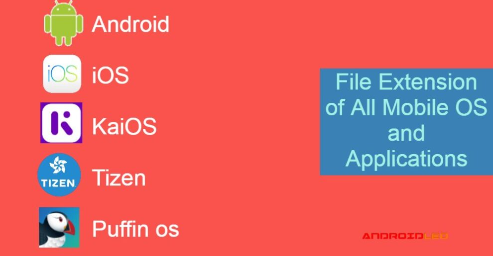 File Extension of Android, ios, tizen, kaios, puffin os