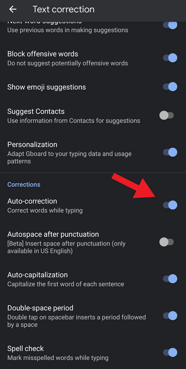 How to turn off auto correct on GBoard